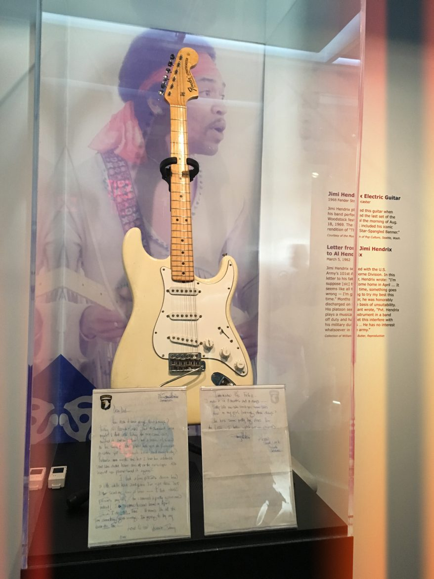 Jimi Hendrix's Stratocaster electric guitar he used to perform the National Anthem at Woodstock, 1969.