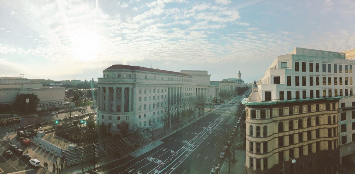 View of Pennsylvania Ave from the Newseum's Capitol terrace.