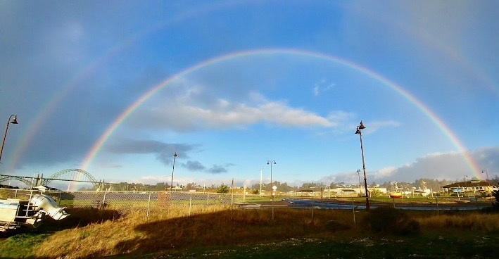 Double Rainbow over Yaquina Bay, OR