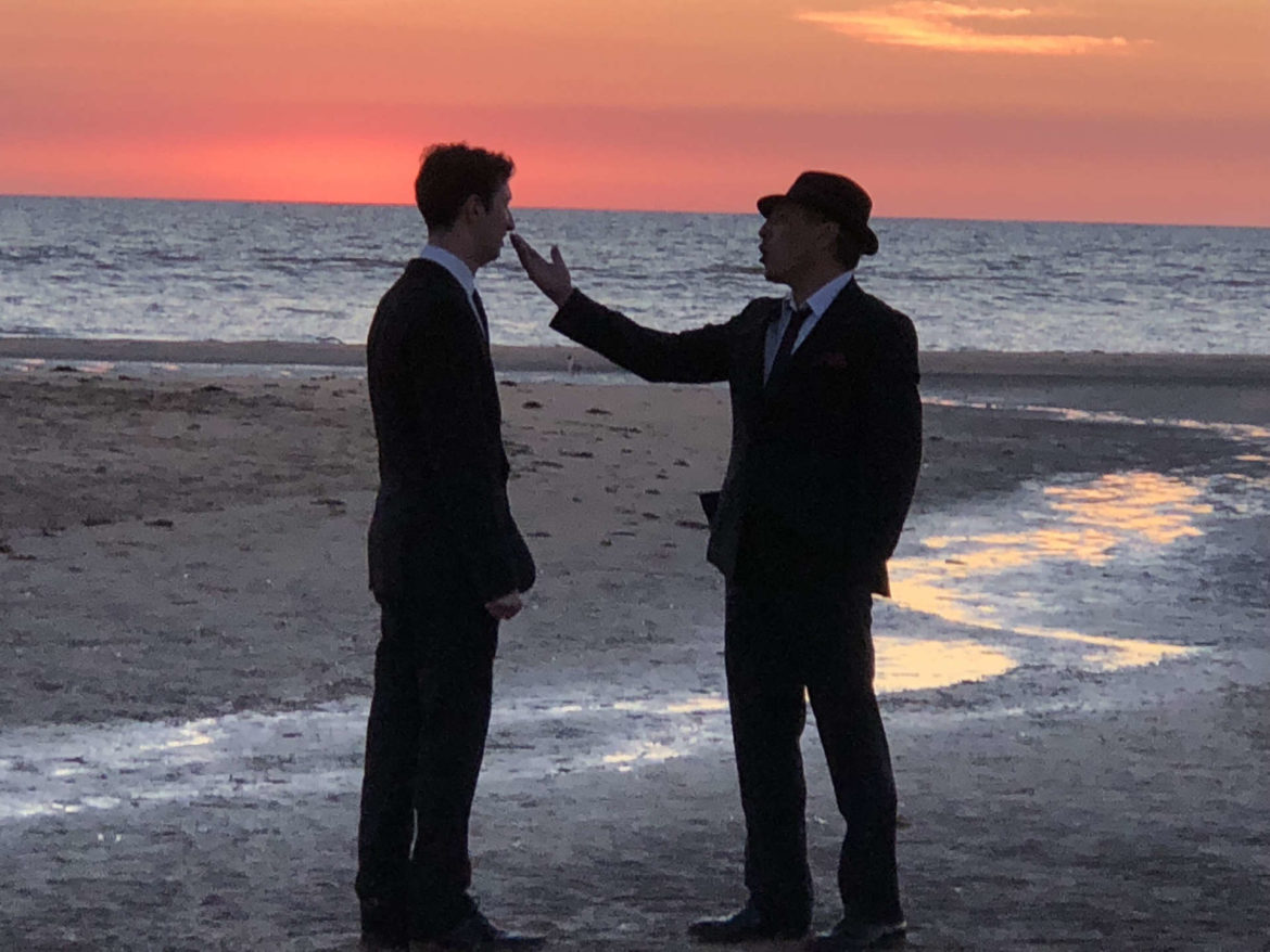 Frank & Grandad on the Beach. Filmed at sunset, this was one of the most challenging scenes to shoot, according to Klare