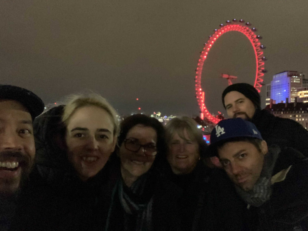 Enjoying a walk around London on the night prior to the Dublin Castle performance