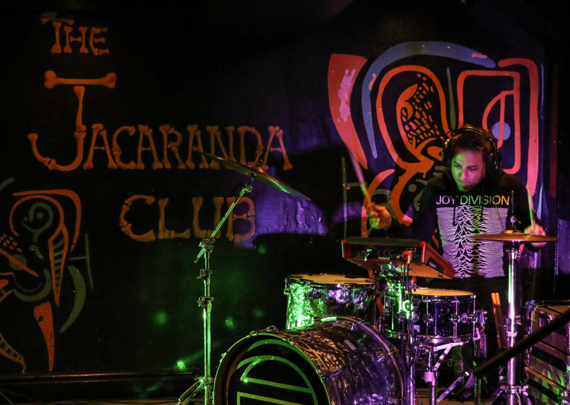 Mika Fineo keeping the beat with EOE at the Jacaranda in Liverpool
