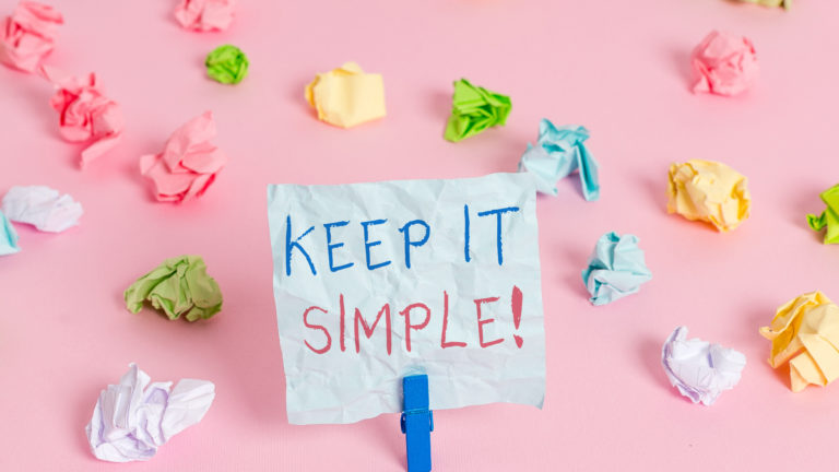 Writing note showing Keep It Simple