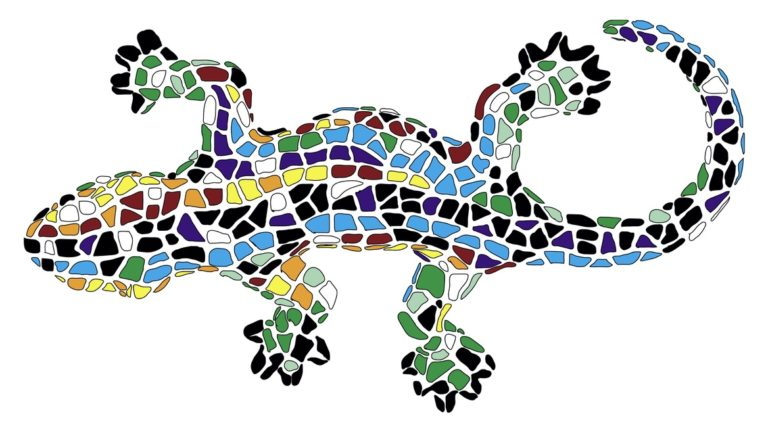 An abstract lizard with a mosaic design