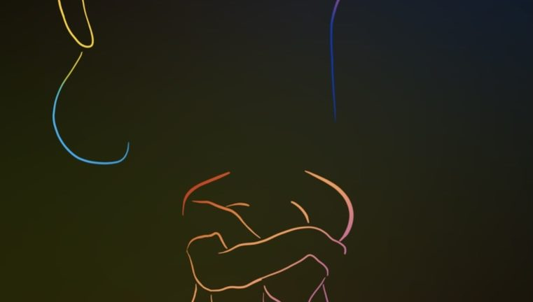 Outline of three women in multiple colors