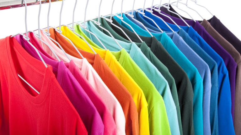Multiple tee shirts in various rainbow colors